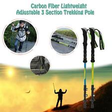 Carbon Fiber Trekking Pole Cane Telescopic Hiking Walking Stick 3Section AA S8D8