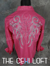 Mens HOUSE OF LORDS Button Shirt Fuchsia Embroidered with Stones Roar with Class