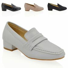 NEW WOMENS LOW HEEL SQUARE TOE SLIP ON LADIES CASUAL PUMPS COURT LOAFERS SHOES