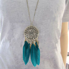 Hot Vintage Bronze Plated Black Feather Leaf Tassel Pendant Long Chain Necklace
