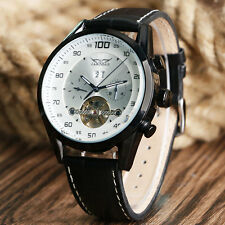 JARAGAR Tourbillon Day Date Automatic Mechanical Leather Strap Men Wrist Watch