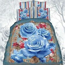 3D Bedding Quilt Doona Duvet Cover Bed Sheet Pillowcase Set -- Purple ---Flowers