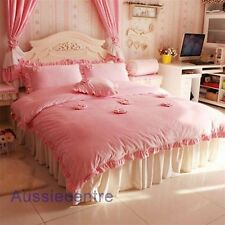 Princess Luxury Bedding Quilt Doona Cover Bed Sheet Pillowcase Set - Winter Rose