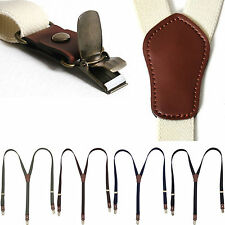 Mens Womens Clip Leather Elastic Suspenders Y-Shape Thin Adjustable Retro Braces