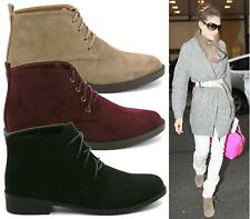 NEW LADIES SUEDE WINTER CASUAL LACE UP FASHION BOOTS ANKLE DESERT TRAINERS SHOES