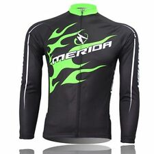 MERIDA Men's Long Sleeve Cycling Jersey Thermal Winter Cycling Jacket Green Fire