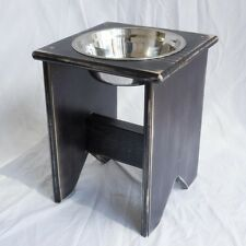 "Elevated Dog Bowl Stand - Wooden - 1 Bowl - 350 mm / 14"" Tall - Raised Dog Bowl"