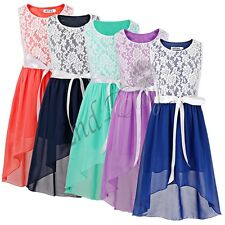 Girls Bridesmaid Dress Kids Princess Wedding Summer Formal  Party Flower Bow NEW
