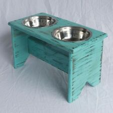 """Elevated Dog Bowl Stand - Wooden - 2 Bowls - 300 mm/12"""" Tall - Raised Dog Bowls"""