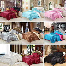 Soft Solid Satin Bedding Pillowcases Quilt Duvet Cover Set Twin Queen King Sizes