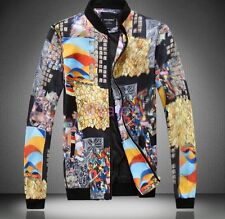 HOT Mens Floral Spring Slim Fit Stand Collar Zipper Jackets Coats Chic Clothes