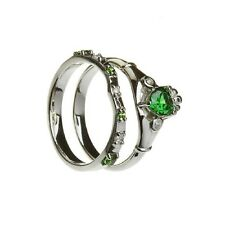 Claddagh Ring & Band Sterling Silver Synthetic Emerald Irish Made
