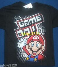 "Super Mario ""Game On!"" Childs t-shirt SIze 4 7 S 6-7 L 10-12 XL 14-16 New Boys"