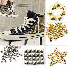 100Pcs Punk Gold Silver 4 sizes quare Pyramid Rivet Metal Studs Spots Spikes DIY