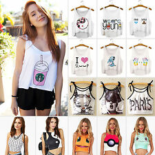 Sexy Womens Girls Pokemon Cosplay Graphic Print Crop Tank Tops Blouse Vest Cami