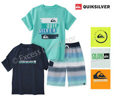 Quiksilver Boys Rash Guard Swim Outfit with SHORTS, RASH GUARD & TEE 3 Pieces