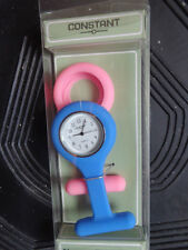 CONSTANT BLUE AND PINK PLASTIC SILICONE NURSES FOB WATCH.