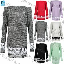 Womens Chunky Knitted Hearts Sweater Ladies Off The Shoulder Long Jumper Dress