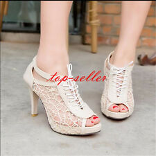Womens High Heels Peep Toe Sandals Hollow Out Pumps Lace-up Lady Shoes Plus Size