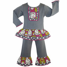AnnLoren Gloria Boutique Girls Grey Knit w/ Damask & Dots Outfit 12/18 mo 9/10