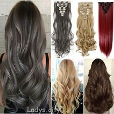 Full Head Clip in Hair Extension Ombre Dip Dye One Piece Wavy Straight Human FI6