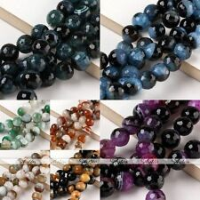 Charming 12/14mm Gemstone Agate Faceted Round Loose Beads Jewelry Findings DIY