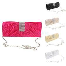 Shiny Crystal Envelopes Clutch Silk Evening Purse Shoulder Hand Bag with Chain