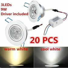 20X Dimmable 9W LED Downlight Recessed Ceiling Light Lamp cool/warm white+Driver