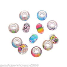 Wholesale Lots Resin European Charm Beads Round Random Pattern Fit Bracelet