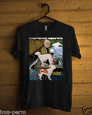 Goodfellas Painting Old Man with Two Dogs Black T-shirt for Man Size S-2XL