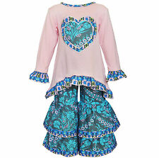 AnnLoren Girls Boutique Pink and Blue Heart Tunic and Pants Set 12/18 mo - 11/12