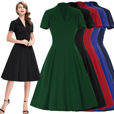 Vintage Style Women Dress Retro 50s 60s Swing Pinup Cocktail Party Pleated Dance