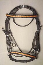 Shubh Fashionable Leather Horse Dressage Bridle with Leather Rein - LDB-08
