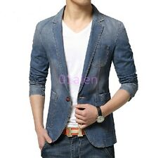 Mens One Button Blazers Denim Jeans coats Slim Fit Casual Cowboy Spring Jackets