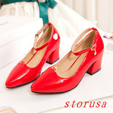 Women Mid Cuban Heel Pull On Shoes Sandals Pointy Toe Dress Patent Leather Size