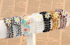 Crystal Glass Faceted Flower Beads Charms Stretchy Bangle Bracelet Women Jewelry