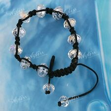"Crystal Glass Faceted Rondelle Rhinestone Beads Woven Bracelet Gift 6-10""L"