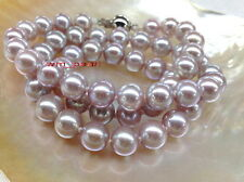 """AAAAA 17""""11-12mm REAL NATURAL round south sea pink purples pearl necklace 14K"""
