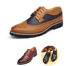 Men Business Wing tip Oxfords Dress Formal Brogue Lace Up Casual Leather Shoes