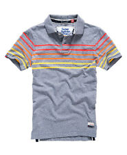 New Mens Superdry Bay Stripe Polo Shirt Storm Blue Grindle M