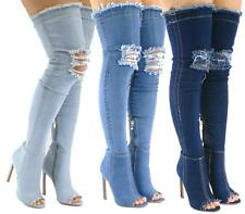 LADIES THIGH HIGH DENIM JEANS FABRIC PEEPTOE OVER THE KNEE HEELS BOOTS SHOES