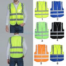 Hi-Vis Safety Vest With Zipper Reflective Jacket Security Waistcoat 4 Pockets