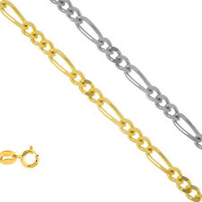14k Solid Gold 1.3mm To 1.9mm Figaro Link Chain Bracelet Necklace Anklet