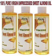 Sweet Almond Oil - Pure Organic Extra Virgin Unprocessed Raw FROM INDIA