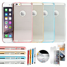 Luxury Thin Aluminum Metal Bumper Clear Back Case Cover for iPhone 6 / 6S 4.7""