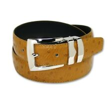 OSTRICH Pattern MUSTARD Color Bonded Leather Men's Belt Silver-Tone Buckle