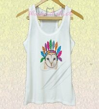 Native barn owl tank top Face owl top XS S M L XL White tank/Grey dress/Grey tee