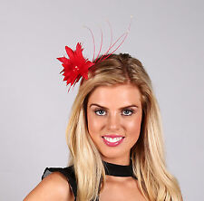 INSTANTLY FABULOUS Fascinator  Feather flower RED, WHITE, - F990