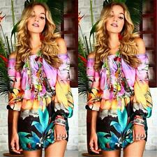 Fashion Womens Floral Print Off-shoulder Evening Cocktail Beach Party Mini Dress