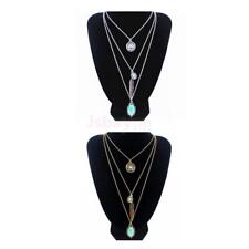 Boho Tibetan Silver Gold Turquoise Pendant Necklace Chain Bib Collar Multilayer